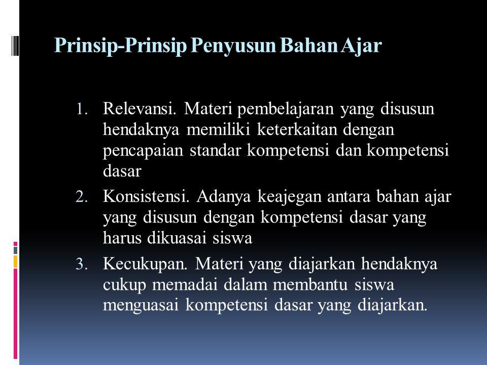 Prinsip-Prinsip Penyusun Bahan Ajar 1. Relevansi. Materi pembelajaran yang disusun hendaknya memiliki keterkaitan dengan pencapaian standar kompetensi