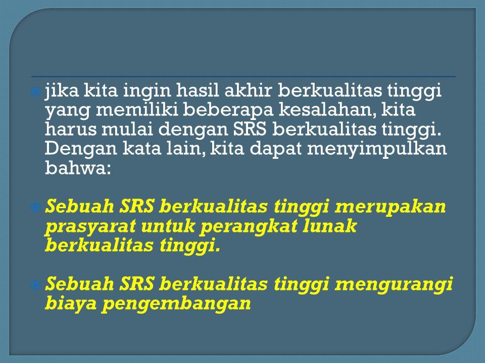  jika kita ingin hasil akhir berkualitas tinggi yang memiliki beberapa kesalahan, kita harus mulai dengan SRS berkualitas tinggi. Dengan kata lain, k