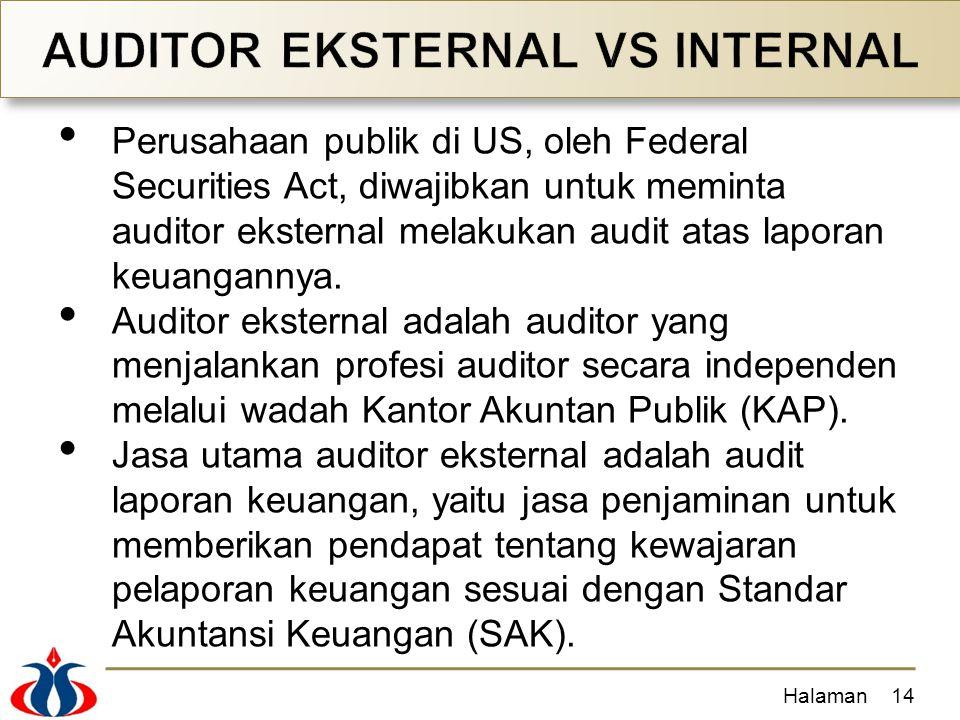 Perusahaan publik di US, oleh Federal Securities Act, diwajibkan untuk meminta auditor eksternal melakukan audit atas laporan keuangannya. Auditor eks