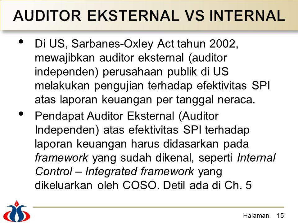 Di US, Sarbanes-Oxley Act tahun 2002, mewajibkan auditor eksternal (auditor independen) perusahaan publik di US melakukan pengujian terhadap efektivitas SPI atas laporan keuangan per tanggal neraca.