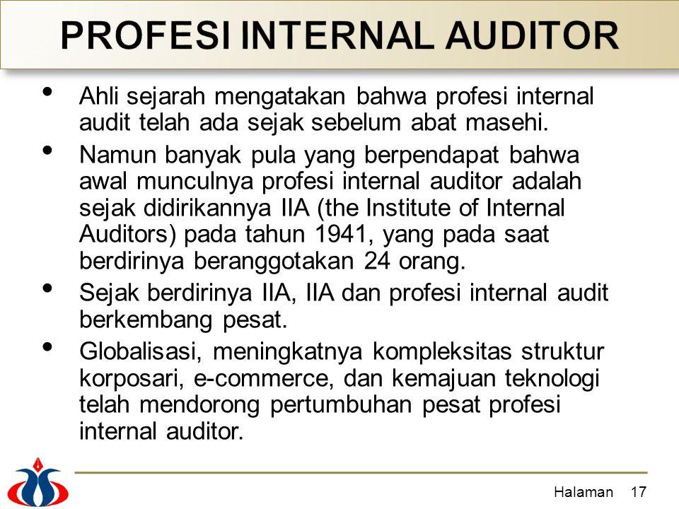 Ahli sejarah mengatakan bahwa profesi internal audit telah ada sejak sebelum abat masehi. Namun banyak pula yang berpendapat bahwa awal munculnya prof