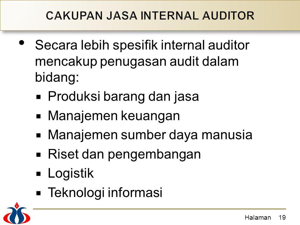 Secara lebih spesifik internal auditor mencakup penugasan audit dalam bidang:  Produksi barang dan jasa  Manajemen keuangan  Manajemen sumber daya manusia  Riset dan pengembangan  Logistik  Teknologi informasi Halaman19
