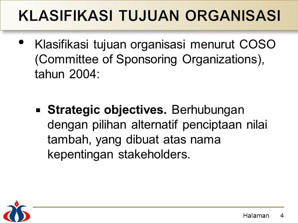 Klasifikasi tujuan organisasi menurut COSO (Committee of Sponsoring Organizations), tahun 2004:  Strategic objectives.