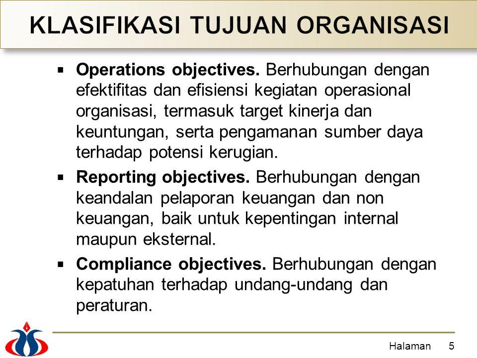  Operations objectives. Berhubungan dengan efektifitas dan efisiensi kegiatan operasional organisasi, termasuk target kinerja dan keuntungan, serta p
