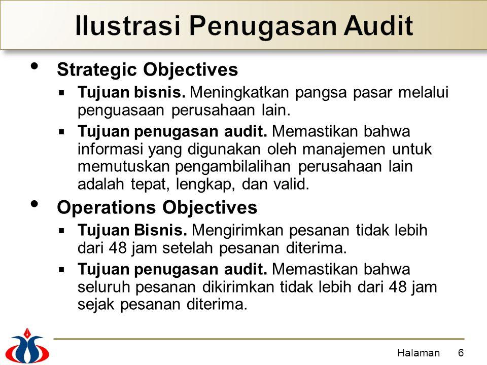 Strategic Objectives  Tujuan bisnis. Meningkatkan pangsa pasar melalui penguasaan perusahaan lain.  Tujuan penugasan audit. Memastikan bahwa informa