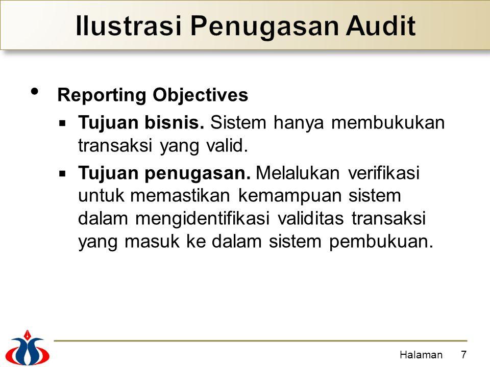 Reporting Objectives  Tujuan bisnis. Sistem hanya membukukan transaksi yang valid.  Tujuan penugasan. Melalukan verifikasi untuk memastikan kemampua