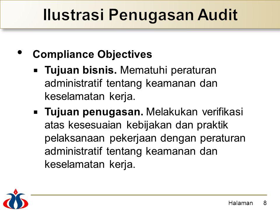 Compliance Objectives  Tujuan bisnis. Mematuhi peraturan administratif tentang keamanan dan keselamatan kerja.  Tujuan penugasan. Melakukan verifika