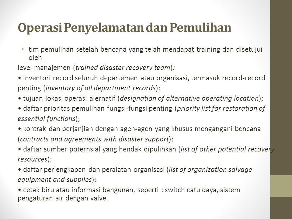 Prasyarat Dalam Pembuatan Disaster Recovery Plan Informasi dipandang sebagai Sumber Daya Perusahaan Asuransi Yang Cukup Program Record Yang Penting Jadwal Penyimpanan Record Sistem Klasifikasi dan Penggunaan Kembali Record Program Sekuritas Yang Cukup