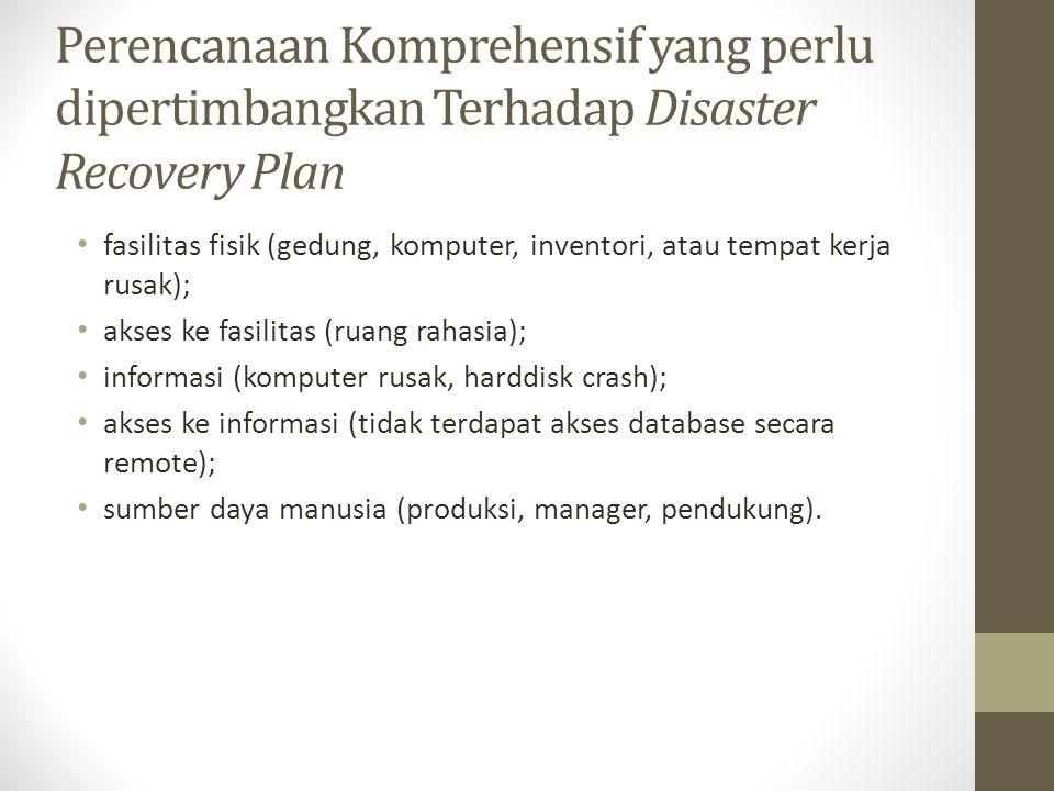 Perencanaan Komprehensif yang perlu dipertimbangkan Terhadap Disaster Recovery Plan fasilitas fisik (gedung, komputer, inventori, atau tempat kerja ru