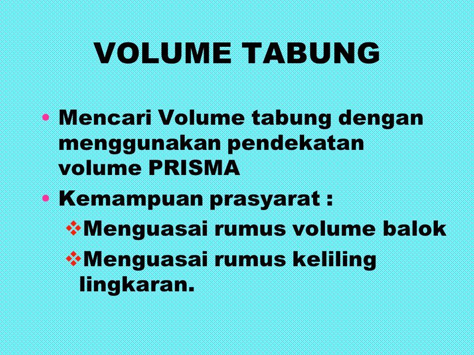 VOLUME TABUNG Mencari Volume tabung dengan menggunakan pendekatan volume PRISMA Kemampuan prasyarat : MMenguasai rumus volume balok MMenguasai rum