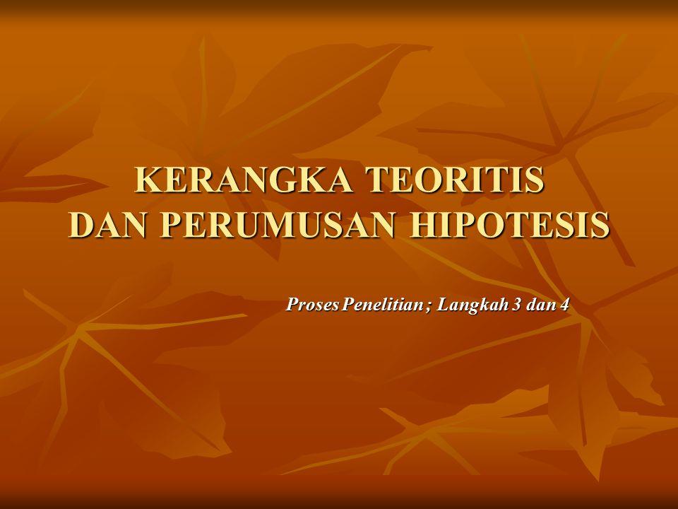 KERANGKA TEORITIS DAN PERUMUSAN HIPOTESIS Proses Penelitian ; Langkah 3 dan 4