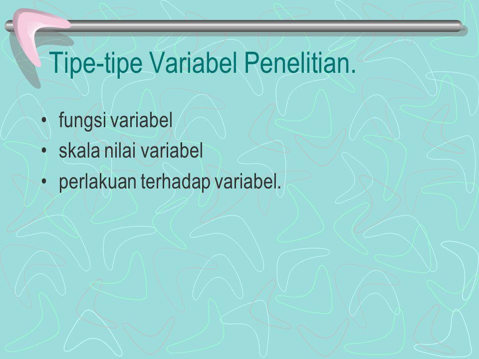 Tipe-tipe Variabel Penelitian. fungsi variabel skala nilai variabel perlakuan terhadap variabel.