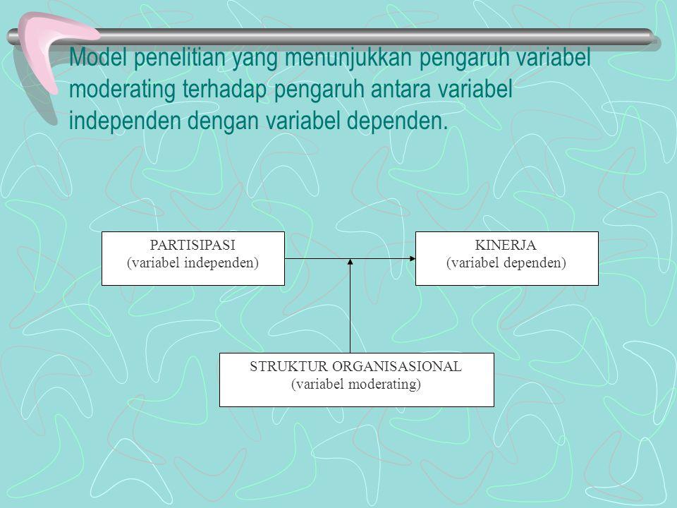 Model penelitian yang menunjukkan pengaruh variabel moderating terhadap pengaruh antara variabel independen dengan variabel dependen. PARTISIPASI (var