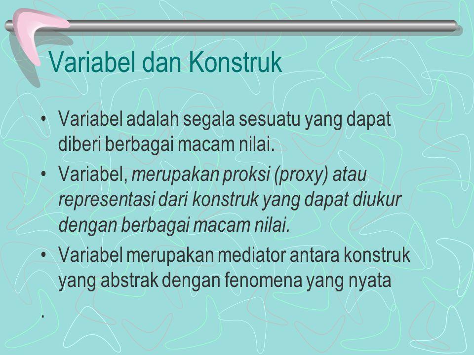 Variabel dan Konstruk Variabel adalah segala sesuatu yang dapat diberi berbagai macam nilai. Variabel, merupakan proksi (proxy) atau representasi dari