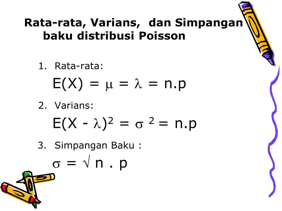 Rata-rata, Varians, dan Simpangan baku distribusi Poisson 1.Rata-rata: E(X) =  = = n.p 2.Varians: E(X - ) 2 =  2 = n.p 3.Simpangan Baku :  =  n. p
