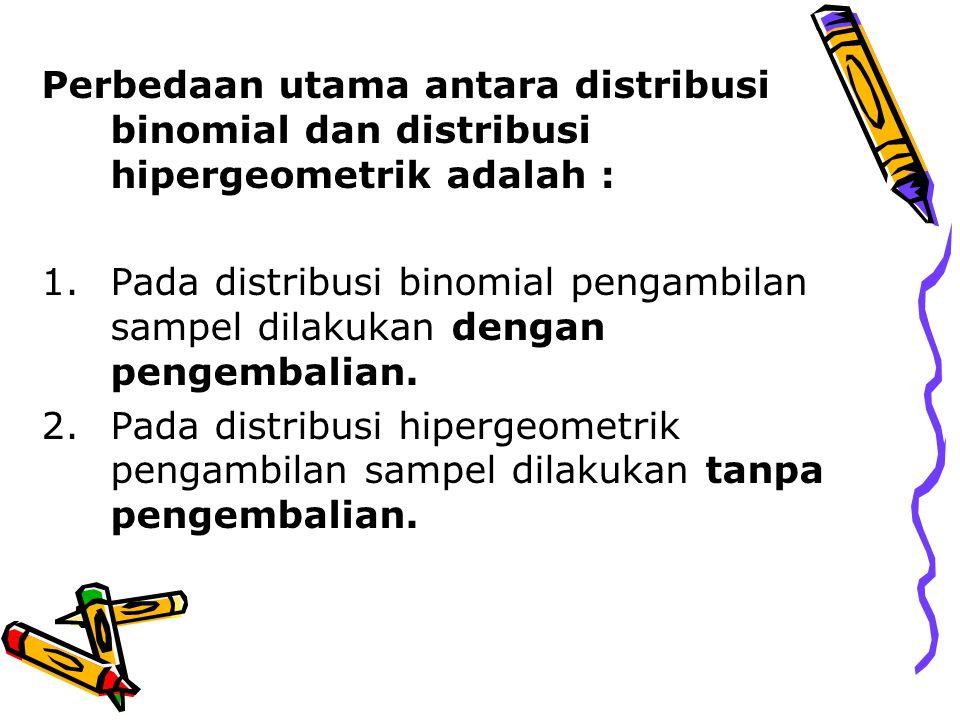 Perbedaan utama antara distribusi binomial dan distribusi hipergeometrik adalah : 1.Pada distribusi binomial pengambilan sampel dilakukan dengan pengembalian.
