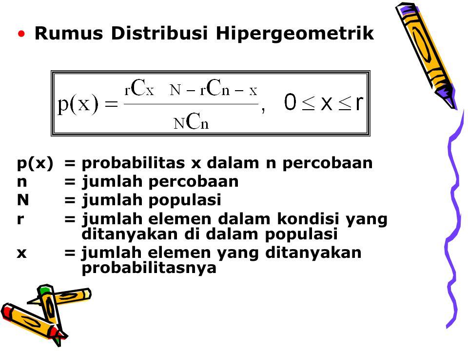 Rumus Distribusi Hipergeometrik p(x)=probabilitas x dalam n percobaan n = jumlah percobaan N = jumlah populasi r = jumlah elemen dalam kondisi yang ditanyakan di dalam populasi x=jumlah elemen yang ditanyakan probabilitasnya