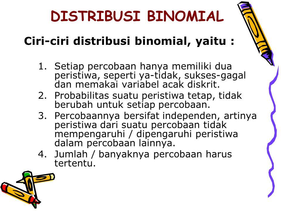 DISTRIBUSI BINOMIAL Ciri-ciri distribusi binomial, yaitu : 1.Setiap percobaan hanya memiliki dua peristiwa, seperti ya-tidak, sukses-gagal dan memakai variabel acak diskrit.