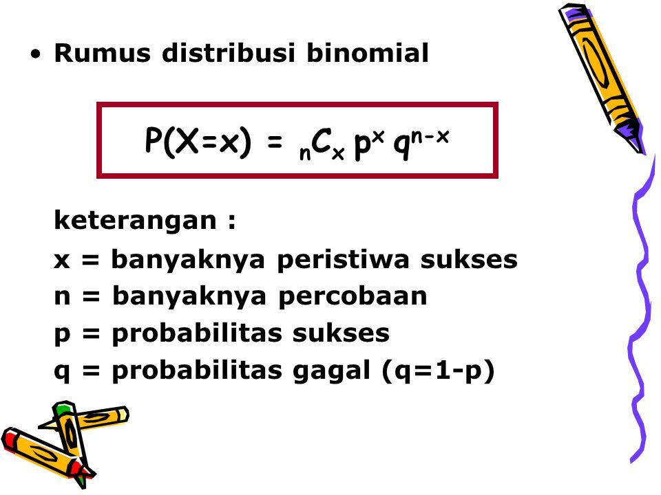 Rumus distribusi binomial keterangan : x = banyaknya peristiwa sukses n = banyaknya percobaan p = probabilitas sukses q = probabilitas gagal (q=1-p) P(X=x) = n C x p x q n-x