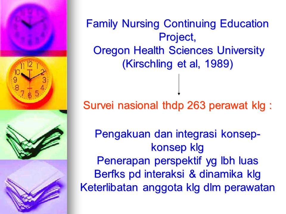 Family Nursing Continuing Education Project, Oregon Health Sciences University (Kirschling et al, 1989) Survei nasional thdp 263 perawat klg : Pengaku