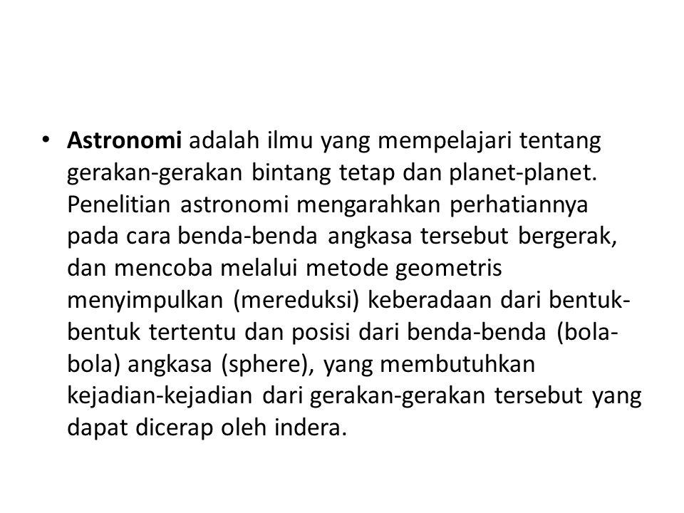 Astronomi adalah ilmu yang mempelajari tentang gerakan-gerakan bintang tetap dan planet-planet. Penelitian astronomi mengarahkan perhatiannya pada car