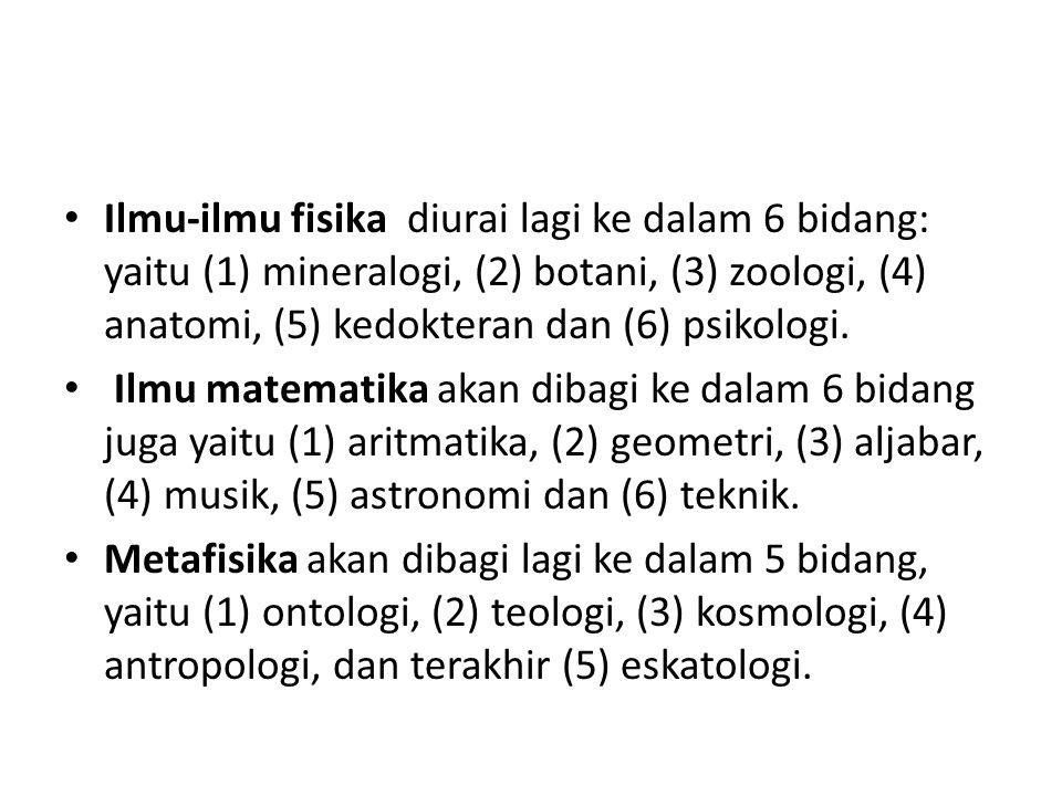 Ilmu-ilmu fisika diurai lagi ke dalam 6 bidang: yaitu (1) mineralogi, (2) botani, (3) zoologi, (4) anatomi, (5) kedokteran dan (6) psikologi. Ilmu mat