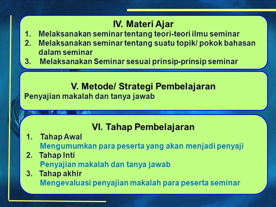 IV. Materi Ajar 1.Melaksanakan seminar tentang teori-teori ilmu seminar 2.Melaksanakan seminar tentang suatu topik/ pokok bahasan dalam seminar 3. Mel