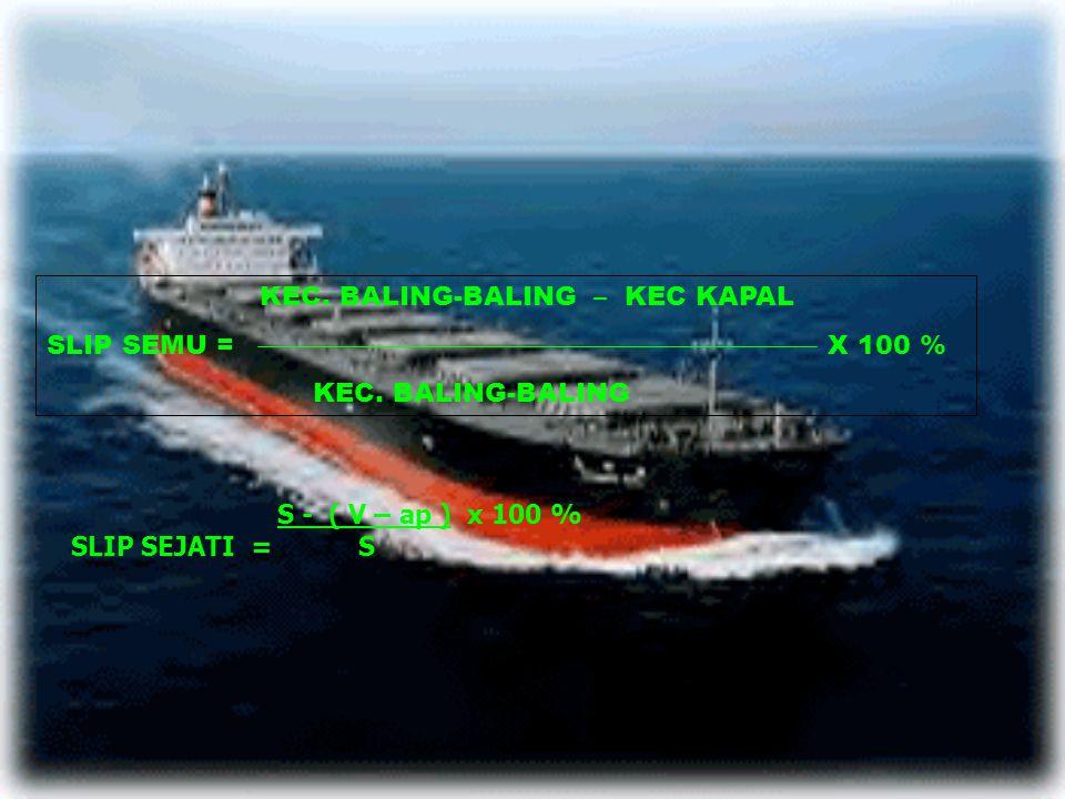 Sebuah kapal berlayar dengan putaran mesin 100 RPM, pitch propeller = 5 m.