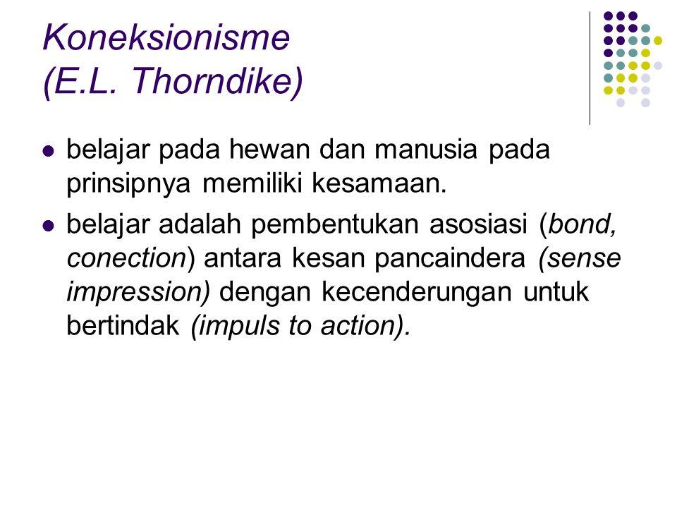 Koneksionisme (E.L. Thorndike) belajar pada hewan dan manusia pada prinsipnya memiliki kesamaan. belajar adalah pembentukan asosiasi (bond, conection)