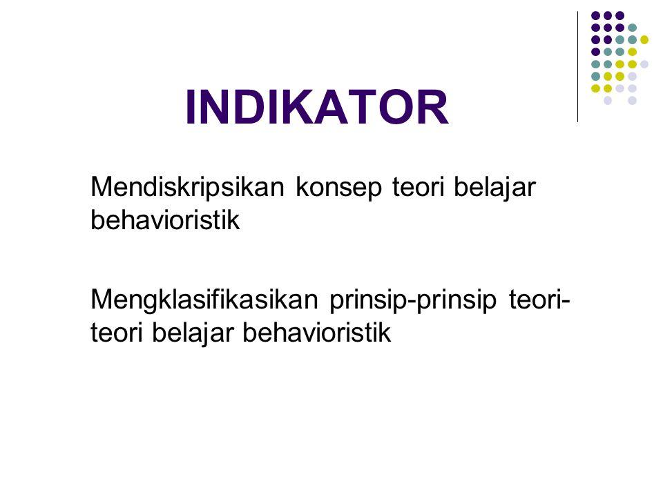 INDIKATOR Mendiskripsikan konsep teori belajar behavioristik Mengklasifikasikan prinsip-prinsip teori- teori belajar behavioristik