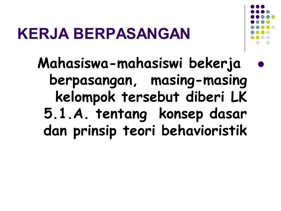 KERJA BERPASANGAN Mahasiswa-mahasiswi bekerja berpasangan, masing-masing kelompok tersebut diberi LK 5.1.A. tentang konsep dasar dan prinsip teori beh