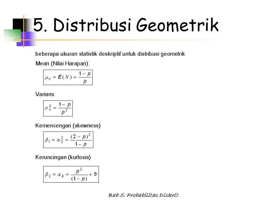 Bab 5. Probabilitas Diskrit 5. Distribusi Geometrik