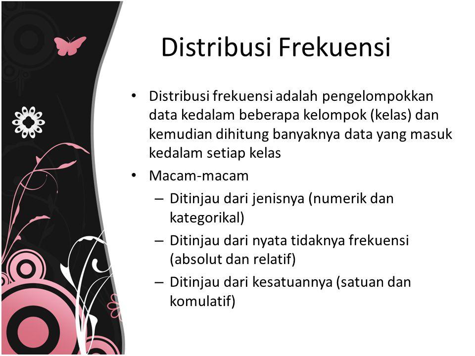 Distribusi Frekuensi Distribusi frekuensi adalah pengelompokkan data kedalam beberapa kelompok (kelas) dan kemudian dihitung banyaknya data yang masuk