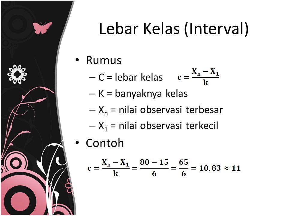 Lebar Kelas (Interval) Rumus – C = lebar kelas – K = banyaknya kelas – X n = nilai observasi terbesar – X 1 = nilai observasi terkecil Contoh