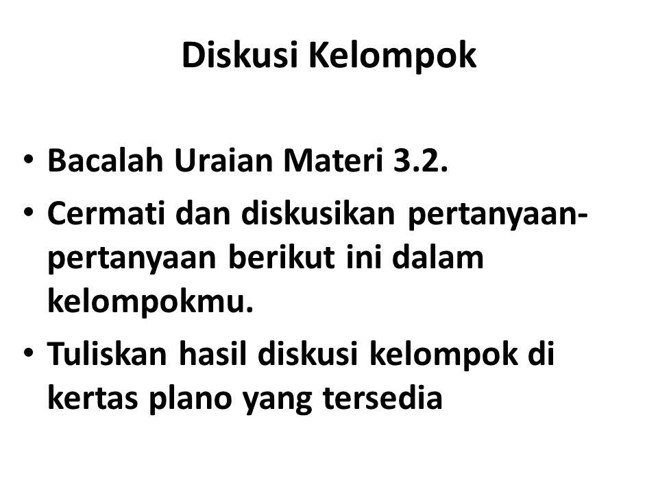 Diskusi Kelompok Bacalah Uraian Materi 3.2. Cermati dan diskusikan pertanyaan- pertanyaan berikut ini dalam kelompokmu. Tuliskan hasil diskusi kelompo