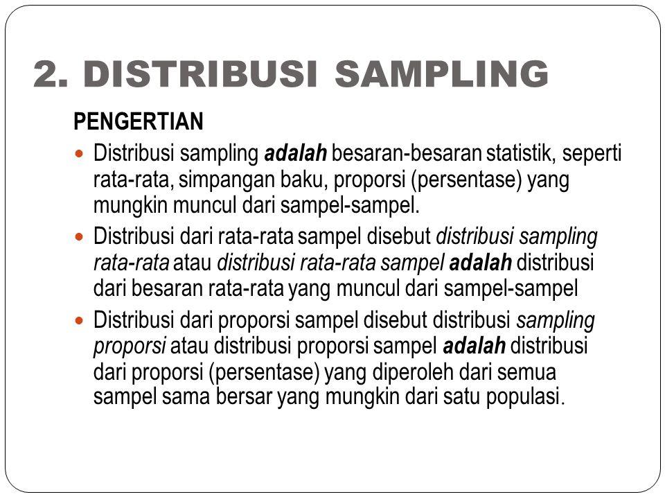 2. DISTRIBUSI SAMPLING PENGERTIAN Distribusi sampling adalah besaran-besaran statistik, seperti rata-rata, simpangan baku, proporsi (persentase) yang
