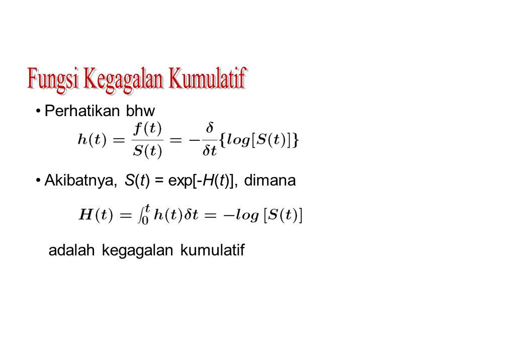 Perhatikan bhw Akibatnya, S(t) = exp[-H(t)], dimana adalah kegagalan kumulatif