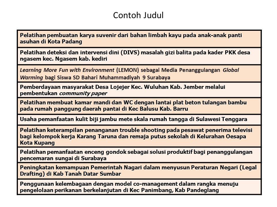 Contoh Judul Pelatihan pembuatan karya suvenir dari bahan limbah kayu pada anak-anak panti asuhan di Kota Padang Pelatihan deteksi dan intervensi dini