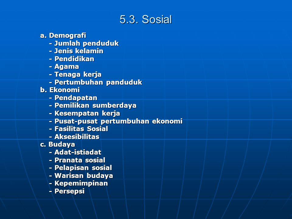 5.3. Sosial a. Demografi - Jumlah penduduk - Jumlah penduduk - Jenis kelamin - Jenis kelamin - Pendidikan - Pendidikan - Agama - Agama - Tenaga kerja