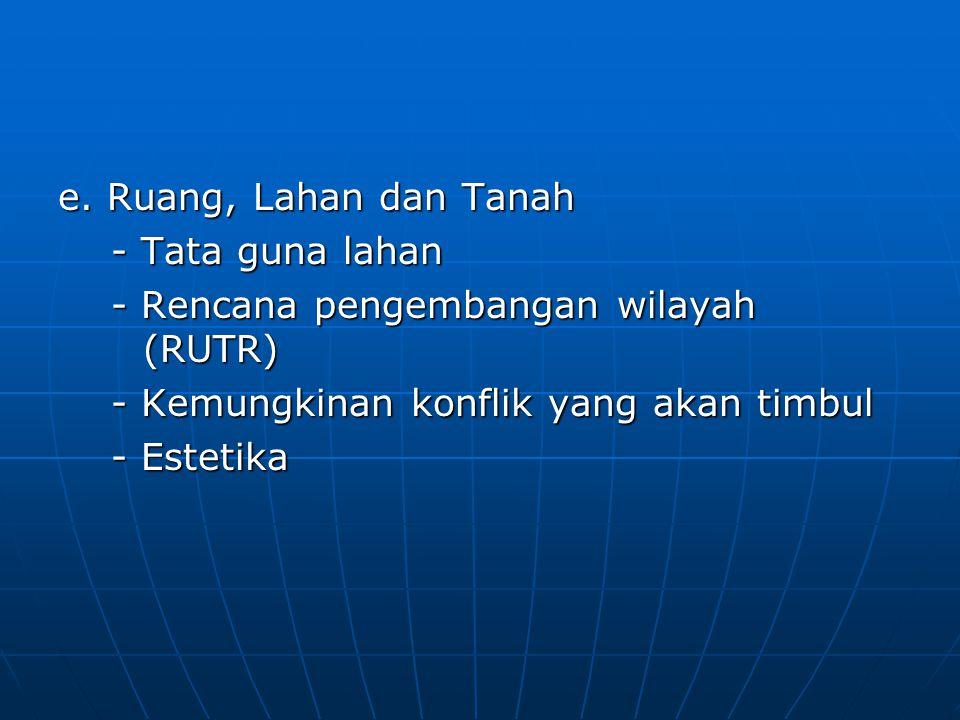 e. Ruang, Lahan dan Tanah - Tata guna lahan - Tata guna lahan - Rencana pengembangan wilayah (RUTR) - Rencana pengembangan wilayah (RUTR) - Kemungkina