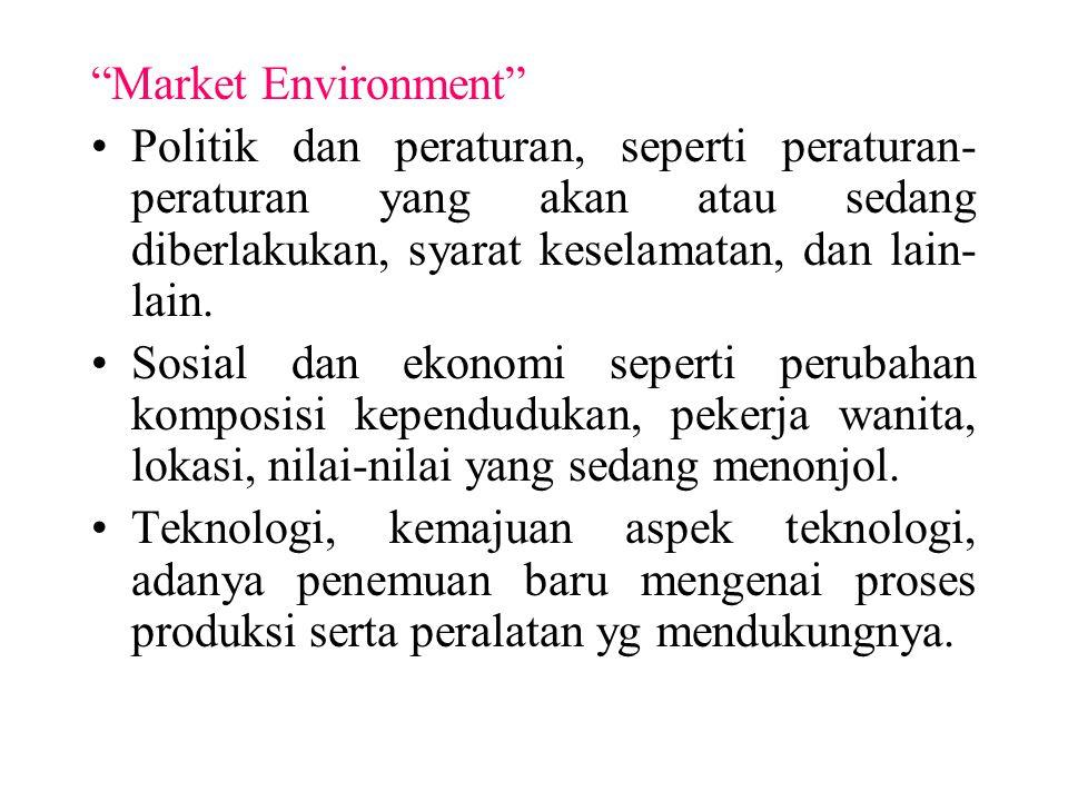 """""""Market Environment"""" Politik dan peraturan, seperti peraturan- peraturan yang akan atau sedang diberlakukan, syarat keselamatan, dan lain- lain. Sosia"""