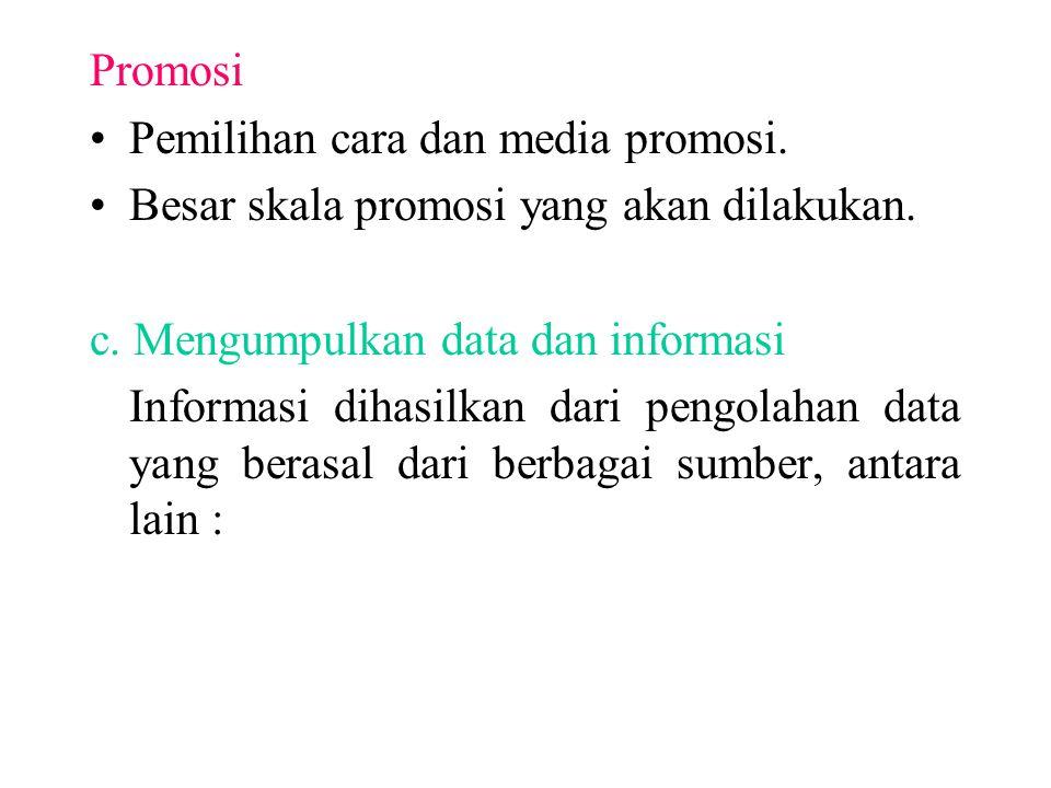 Promosi Pemilihan cara dan media promosi. Besar skala promosi yang akan dilakukan. c. Mengumpulkan data dan informasi Informasi dihasilkan dari pengol