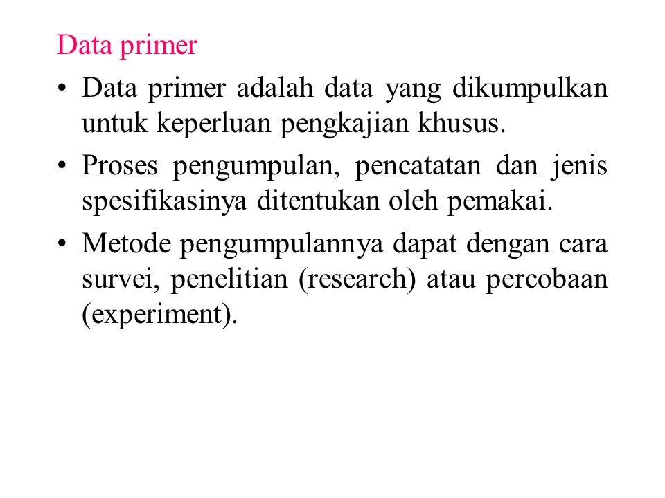 Data primer Data primer adalah data yang dikumpulkan untuk keperluan pengkajian khusus. Proses pengumpulan, pencatatan dan jenis spesifikasinya ditent