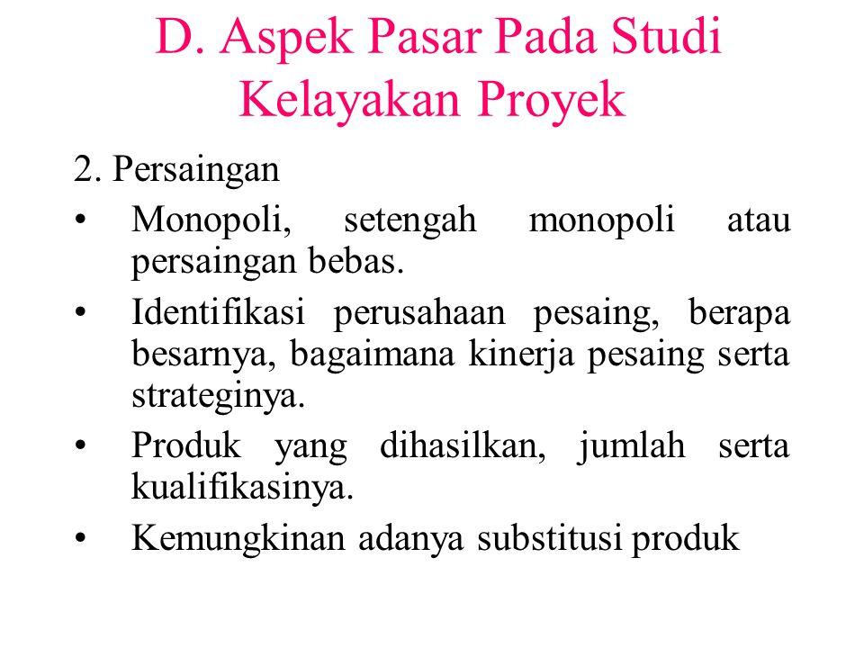 D. Aspek Pasar Pada Studi Kelayakan Proyek 2. Persaingan Monopoli, setengah monopoli atau persaingan bebas. Identifikasi perusahaan pesaing, berapa be