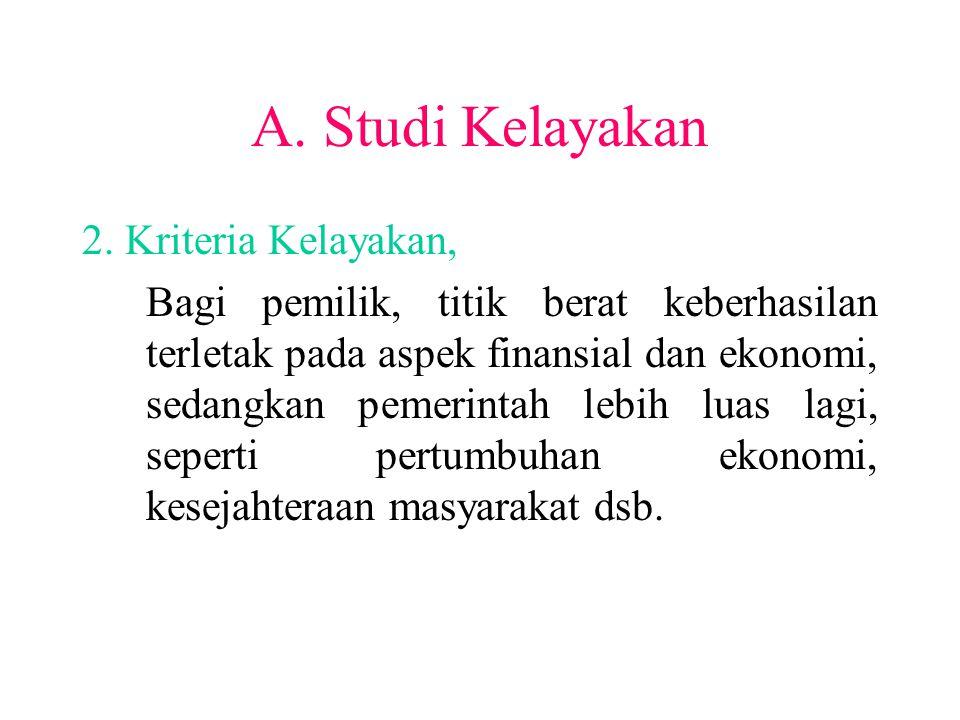A. Studi Kelayakan 2. Kriteria Kelayakan, Bagi pemilik, titik berat keberhasilan terletak pada aspek finansial dan ekonomi, sedangkan pemerintah lebih