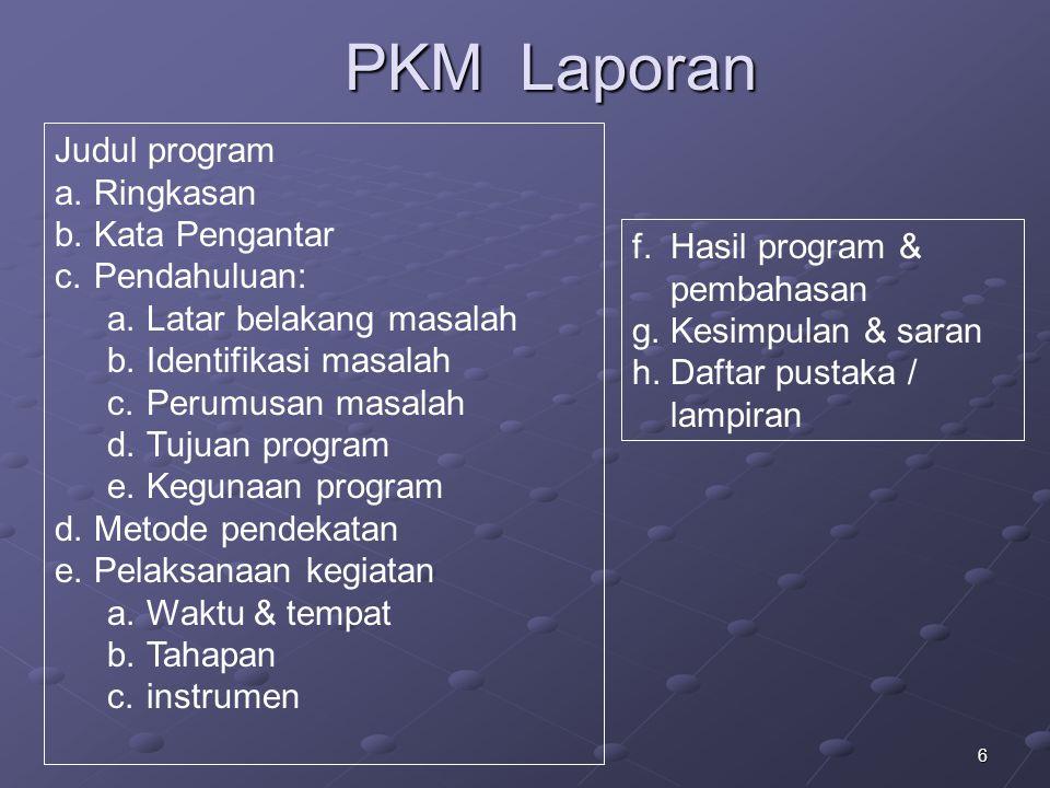 6 PKM Laporan Judul program a.Ringkasan b.Kata Pengantar c.Pendahuluan: a.Latar belakang masalah b.Identifikasi masalah c.Perumusan masalah d.Tujuan p