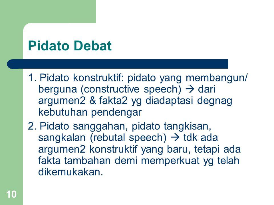 Pidato Debat 1. Pidato konstruktif: pidato yang membangun/ berguna (constructive speech)  dari argumen2 & fakta2 yg diadaptasi degnag kebutuhan pende
