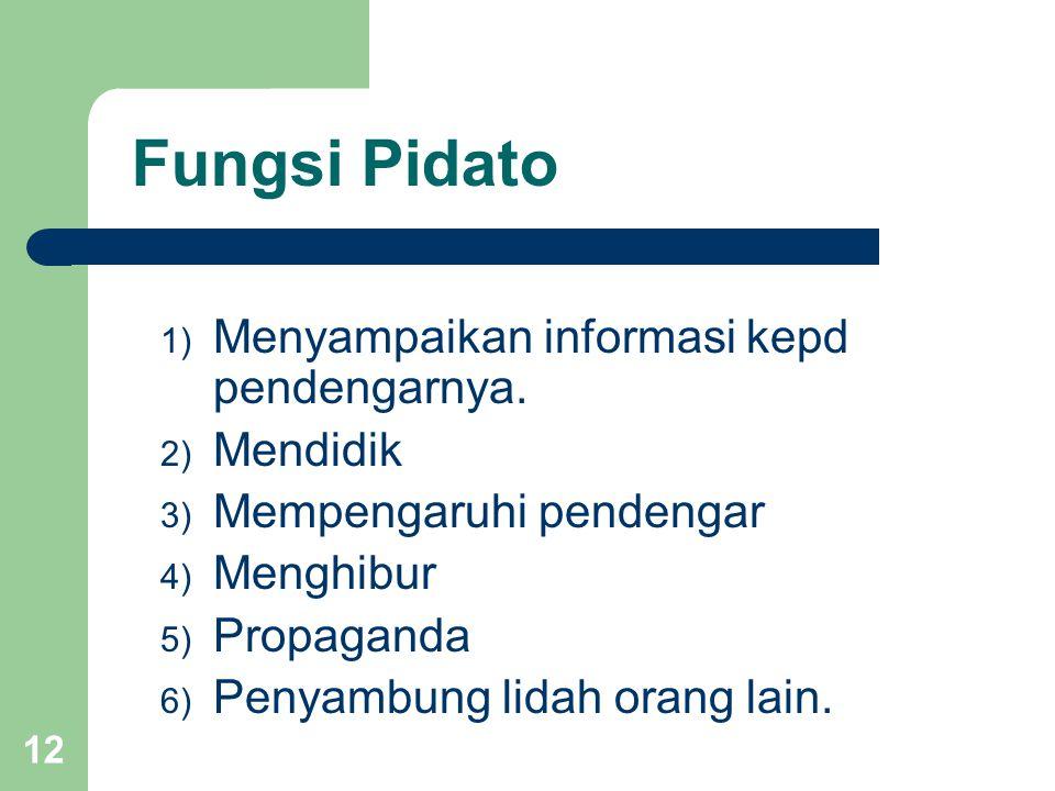 Fungsi Pidato 1) Menyampaikan informasi kepd pendengarnya. 2) Mendidik 3) Mempengaruhi pendengar 4) Menghibur 5) Propaganda 6) Penyambung lidah orang