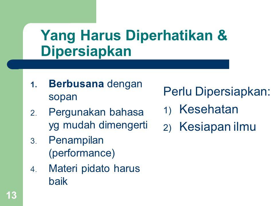 Yang Harus Diperhatikan & Dipersiapkan 1. Berbusana dengan sopan 2. Pergunakan bahasa yg mudah dimengerti 3. Penampilan (performance) 4. Materi pidato