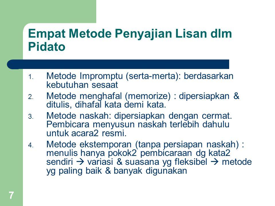 Empat Metode Penyajian Lisan dlm Pidato 1. Metode Impromptu (serta-merta): berdasarkan kebutuhan sesaat 2. Metode menghafal (memorize) : dipersiapkan